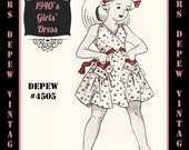 Vintage Sewing Pattern 1940's Girls' Dress in Any Size Depew 4505 - Plus Size Included -INSTANT DOWNLOAD-