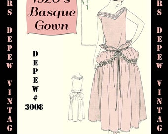 Vintage Sewing Pattern Instructions 1920's Flapper Easy Basque Dress Ebook PDF Depew 3008 -INSTANT DOWNLOAD-