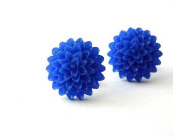 Blue Mum Flower Post Earrings Blue Stud Earrings