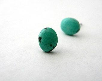 Turquoise Stud Oval Earrings 10x8mm Post Earrings Howlite Earrings Gemstone Earrings Blue Turquoise