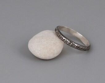 Oxidized Silver Band Ring, Hammered Band, Wedding Rings Set, Mans Wedding Band, Womens Wedding Ring, Organic Ring, 3mm Band, Tree Bark Ring