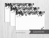 4x6 inch Recipe Cards Printable DIY - 2 Designs - Black & White  -  INSTANT DOWNLOAD - Item 154