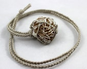 Desert Rose Selenite Hemp Wrapped Healing Crystal Necklace