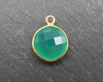 Green Onyx Gold Vermeil Round Pendant 14mm (CG7176)
