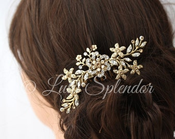 Gold Bridal Hair Comb Flower Comb Vintage Leaves Wedding Hair Accessories Golden Shadow Crystal Comb Delicate Bridal Hair Comb SABINE 2