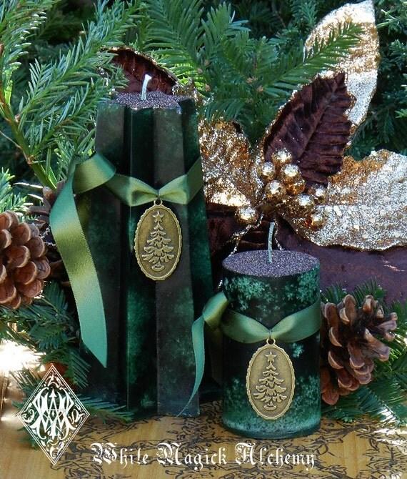 Christmas Tree History Pagan: Juniper And Holly Yule Tree Pillar Candles . Yule Winter