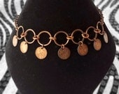 Penny Necklace, Belly Dancer Inspired Tribal Style Coin Jewelry Choker Necklace with Drop Penny Dangle Charms Handmade in the USA