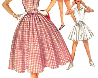Shorts Skirt Pattern 1950s Rockabilly Blouse Vintage Sewing Simplicity Junior's Women's Misses Size 13 Bust 31 Inches