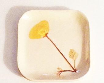 California Poppy pottery: handmade decor ceramic plate golden yellow sepia tray ring trinket dish CA Poppy