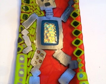 Dancing Silver Robot on lime green and deep orange fused glass rectangle platter