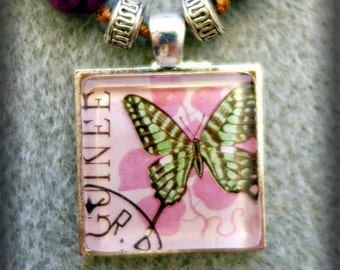 Beaded Guinea Butterfly Postage Stamp Pendant Necklace (One of a Kind!)