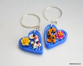Koi Pond Heart Earrings in Polymer Clay Filigree Valentine's Day Gift