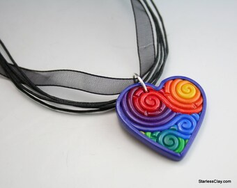 Rainbow Heart Pendant in Polymer Clay Filigree Valentine's Day Gift