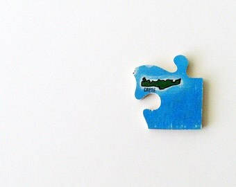 1960s Crete Brooch - Pin / Unique Wearable History Gift Idea / Upcycled Vintage Wood Jewelry / Mediterranean Sea / Timeless Gift Under 30