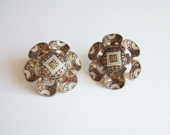 Spanish Damascene Earrings - Ornate Vintage Clip On Earrings