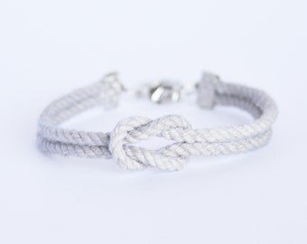 Matte fog gray forever knot nautical rope bracelet with silver anchor charm
