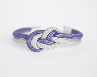 Purple and gray infinity knot parachute cord rope bracelet