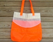 Medium Tote Bag : Repurposed Neon Orange Katana Parachute Slider