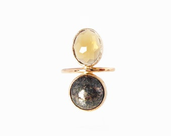 Honey Quartz & Pyrite CLEO Ring, Stackable ring, Handmade to order with recycled 14k Gold