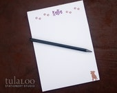 Dog and Paw Prints Personalized Notepad