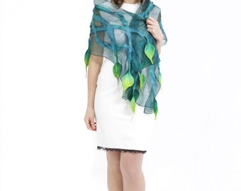Felted scarf, scarf, felt, wrap, silk, wool, green, taupe, emerald, women, gift, accesories, art, leaves