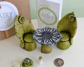 Fairy Garden Kit, Fairy Garden Party, Fairy furniture, Leaf chair and Flower table set: 7 items cast marble stone for Miniature garden