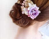 bridesmaid hairpiece, bridal hair clip, light purple hair accessories, lavender flower, lilac hair piece, wedding headpiece, gold, lace hair