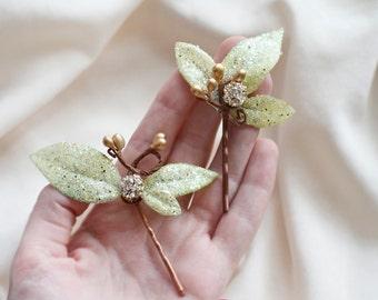 champagne hair accessories, champagne hair flower, pale green and gold hair pins, sparkly rhinestone hairpiece, bridal hair clip, wedding