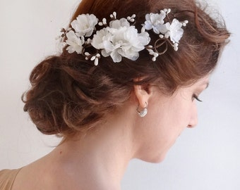 bridal hairpiece, bridal hair accessories, bridal hair vine, floral hair clip, wedding hairpiece, bridal hair comb, flower headpiece