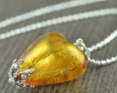 Crowned Queen of Heart Necklace Murano glass necklace in Yellow
