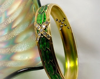 Metropolitan Museum of Art Faberge Bracelet Bangle Green Enamel Leaves Swarovski Crystals Russian FBS