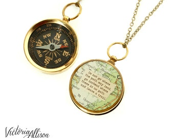 Large Map Compass Necklace with Emerson or Personalized Quote, Working Compass, Do Not Go Where the Path May Lead, Graduation Gift