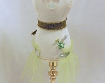 Mannequin Dress Form, Cottage Chic, Pincushion, Jewelry Stand, Pin Keeper, Upcycled Candle Holder