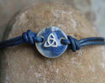 Blue Trinity Leather Bracelet
