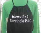 Personalized Cornhole Bag Black Drawstring Cinch Sack Backpack