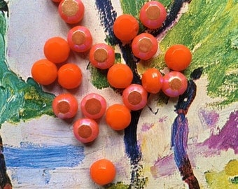 Unique Beads Orange Glass Beads, Vintage German Bead, Opaque Tablet Loose Glass Beads Bright Orange Beads for Jewelry Making, Bead Crafts 12