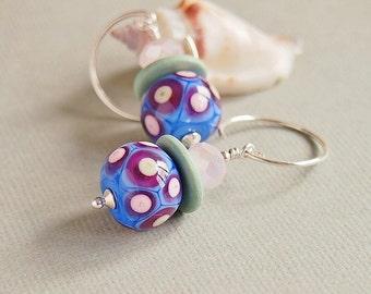 Blue Artisan Lampwork Earrings, Sterling Silver, Beaded Earrings, Pistachio, Rose Pink - ELOISE