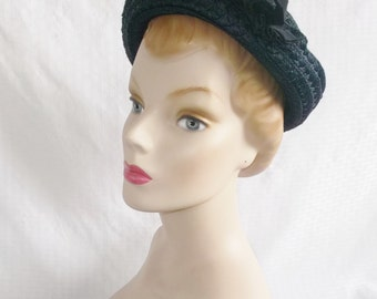 1950's Vintage Navy Blue Hat Teen Age by Gage