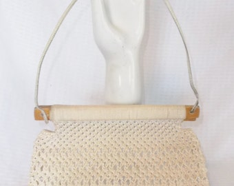 Clearance 1970s Vintage Boho Off White Macrame and Wood Purse Bag by Cappagallo