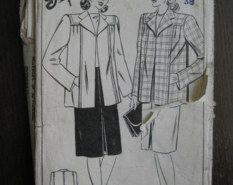 "1940s Coat - 38"" Bust - Style 4638 - Vintage Sewing Pattern - Wartime WW2 Home Front"
