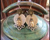 Silver and Antique Pearl Earrings by Lauretta Lowell