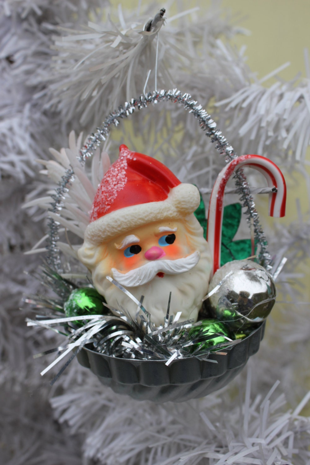 Vintage style christmas ornament tin mold adorable rubber