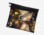 Monarch Nymph Butterfly Fairy bag wristlet, travel bag,