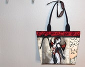 Vampire tote bag, Hiding From Daylight, Amy Brown, book tote, large purse, canvas tote, shoulder bag