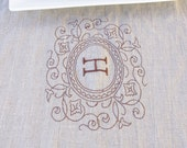 Table Runner NATURAL Linen Personalized With Your Monogram Wedding Gift Housewarming Gift Heirloom Embroidered Linens Eco Friendly