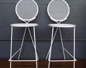 Pair of Rare Salterini Wrought Iron Bar Stools Mid Century Modern Patio