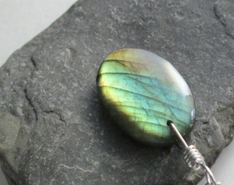 Brown & Green Labradorite Necklace, Fiery Stone Jewelry, Rustic Pendant
