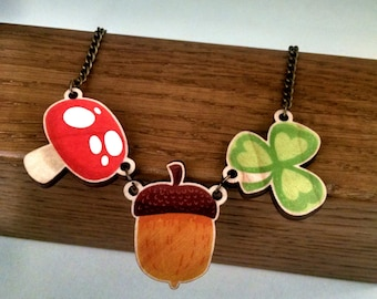 Fall Tokens wood charm necklace