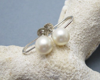 Vintage 14K White Gold Pearl Earrings Bridal Jewelry E6421