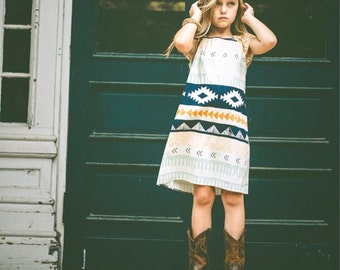 Aztec Peasant Girl Dress/Boho Girl/Hippie Girl/Coachella Style/Tween Native Dress